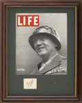 """Autographs:Military Figures, George Patton Signature """"Censored/ G S Patton/ Lt. Gen."""" on slip of paper, 2.5"""" x 2"""" (sight), n.d., n.p. Nicely matted a..."""