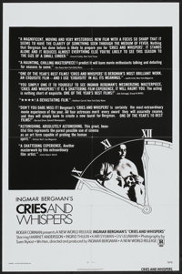 """Cries and Whispers (New World, 1973). One Sheet (27"""" X 41"""") Review Style. Drama"""