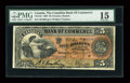 Canadian Currency: , Toronto, ON- The Canadian Bank of Commerce $5 Jan. 8, 1907 Ch. #75-14-10. ...