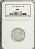 Coins of Hawaii: , 1883 25C Hawaii Quarter MS62 NGC. NGC Census: (88/501). PCGSPopulation (157/799). Mintage: 500,000. (#10987)...
