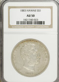 Coins of Hawaii: , 1883 $1 Hawaii Dollar AU50 NGC. NGC Census: (20/145). PCGS Population (51/175). Mintage: 500,000. (#10995)...