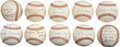 Autographs:Baseballs, Vintage Stars Single Signed Baseballs Lot of 10....
