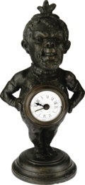 Antiques:Clocks & Watches, Blackman Figure with Clock, Circa 1910 and made of cast spelter.The figure is a jolly African native sporting feathers on h...