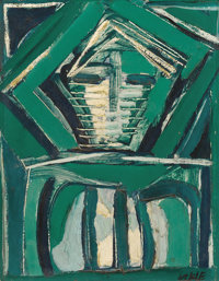 FRANZ KLINE (American, 1910-1962) Untitled (Abstract Composition in Green) Oil on canvas Signed l