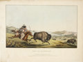 """Antiques:Posters & Prints, McKenney & Hall: """"Hunting the Buffaloe"""" Hand-Colored Lithograph, 1836...."""