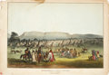 "Antiques:Posters & Prints, McKenney & Hall: ""Encampment of Piekann Indians, near Fort McKenzie on the Muscleshell River"" Hand-Colored Lithograph, 184..."