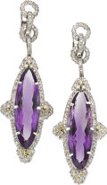 Estate Jewelry:Earrings, Amethyst, Colored Diamond, Diamond, White Gold Earrings. ...(Total: 2 Items)