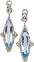 Estate Jewelry:Earrings, Blue Topaz, Diamond, Colored Diamond, White Gold Earrings. ...(Total: 2 Items)