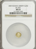 California Fractional Gold: , 1859 25C Liberty Round 25 Cents, BG-801, R.3, MS63 NGC. NGC Census:(6/24). PCGS Population (34/49). (#10662)...