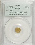 California Fractional Gold: , 1878/6 25C Indian Round 25 Cents, BG-883, High R.4, MS64 PCGS. PCGSPopulation (26/2). NGC Census: (1/3). (#10744)...