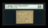 North Carolina August 8, 1778 $10 PMG About Uncirculated 55 EPQ