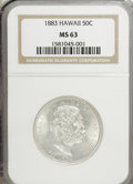 Coins of Hawaii: , 1883 50C Hawaii Half Dollar MS63 NGC. NGC Census: (29/36). PCGSPopulation (58/60). Mintage: 700,000. (#10991)...