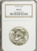 Kennedy Half Dollars: , 1970-D 50C MS65 NGC. NGC Census: (434/102). PCGS Population(853/205). Mintage: 2,150,000. Numismedia Wsl. Price for NGC/PC...