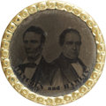 Political:Ferrotypes / Photo Badges (pre-1896), Lincoln & Hamlin: Uniface Jugate Ferrotype, 1860, 22mm. Theferrotype button has a brass rim and a shank back. The image is ...