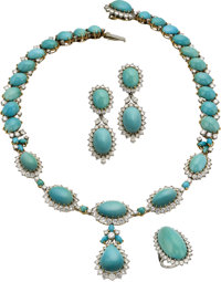 Turquoise, Diamond, Platinum, Gold Jewelry Suite, French