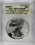 2006-P $1 Reverse Proof Silver Eagle, 20th Anniversary PR70 ICG. First Strike. NGC Census: (0/0). PCGS Population (1449/...