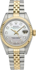 Timepieces:Wristwatch, Rolex Lady's Two Tone Datejust with Diamond Dial, circa 1993. ...