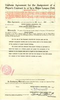 Autographs:Others, 1933 Eddie Collins Signed Player Contract....
