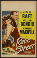 "Movie Posters:Crime, Race Street (RKO, 1948). Window Card (14"" X 22""). Crime...."