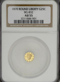 California Fractional Gold: , 1870 25C Liberty Round 25 Cents, BG-832, Low R.6, AU55 NGC. NGCCensus: (0/2). PCGS Population (1/17). (#10693). From T...