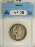 1893 50C VF25 ANACS. NGC Census: (0/197). PCGS Population (0/213). Mintage: 1,826,792. Numismedia Wsl. Price for NGC/PCG...