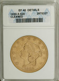 Liberty Double Eagles: , 1859-S $20 --Cleaned--ANACS. XF45 Details. This moderatelycirculated San Francisco twenty is thickly hairlined, and theobv...