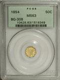 California Fractional Gold: , 1854 50C Liberty Octagonal 50 Cents, BG-308, R.6, MS63 PCGS.Somewhat unevenly struck, as is diagnostic, with patchy reflec...