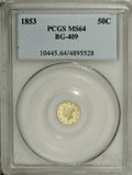 California Fractional Gold: , 1853 50C Liberty Round 50 Cents, BG-409, R.5, MS64 PCGS. Small headand wreath similar to the contemporary Gold Dollar desi...