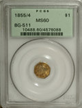 California Fractional Gold: , 1855/4 $1 Liberty Octagonal 1 Dollar, BG-511, High R.4, MS60 PCGS.Die State II, with Liberty's nose broken (as made) due t...