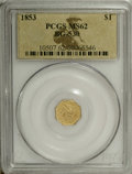 California Fractional Gold: , 1853 $1 Liberty Octagonal 1 Dollar, BG-530, R.2, MS62 PCGS.Examples of this variety have been found among ship treasure da...