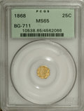 California Fractional Gold: , 1868 25C Liberty Octagonal 25 Cents, BG-711, R.4, MS65 PCGS. Theluminous almond-gold fields are splendidly smooth, and the...