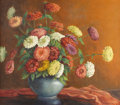 Texas:Early Texas Art - Regionalists, MARY EDWARDS (1871-1951). Untitled Still Life with Zinnias, 1940s.Oil on canvas. 30in. x 34in.. Signed lower right. Prove...