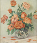 Texas:Early Texas Art - Regionalists, MARY EDWARDS (1871-1951). Untitled Roses, 1930s. Oil oncanvasboard. 16in. x 14in.. Signed lower left. Provenance:.Acquir...