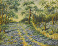 Texas:Early Texas Art - Impressionists, MARGARET O'DONOHOE (dec.). Untitled Bluebonnet Landscape. Oil onmasonite. 12in. x 15in.. Signed lower right. Signed verso. ...