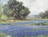 ROBERT WOOD (1889-1979) Untitled Bluebonnet Landscape, 1944 Oil on canvas 20in. x 26in. Signed and dated lower right...