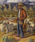 Paintings, FRED DARGE (1900-1978). Old Pedro the Goat Herder. Oil on linen. 36in. x 30in.. Signed lower right. Signed and titled ve...