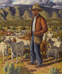 FRED DARGE (1900-1978) Old Pedro the Goat Herder Oil on linen 36in. x 30in. Signed lower right Signed and titled ve