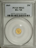 California Fractional Gold: , 1869 25C Liberty Octagonal 25 Cents, BG-748, R.5, MS62 PCGS. Thereflective yellow-gold fields are lightly abraded, but thi...