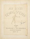 Boxing Collectibles:Autographs, World War II Scrapbook Including Joe Louis Signed Fight Program and Rare Photographs....