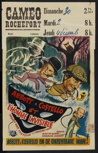 """Abbott and Costello Meet the Invisible Man (Universal International, 1951). Belgian (14"""" X 22.75""""). Comedy"""