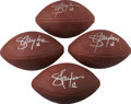 Football Collectibles:Balls, Lawrence Taylor Single Signed Footballs Lot of 4....