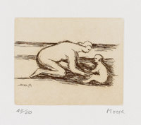 HENRY SPENCER MOORE (British, 1898-1986) Mother and Child A, 1984 Etching on Barcham Green Boxley pa