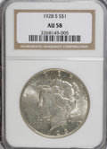 Peace Dollars: , 1928-S $1 AU58 NGC. NGC Census: (223/3090). PCGS Population(253/4251). Mintage: 1,632,000. Numismedia Wsl. Price for NGC/P...
