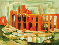 BROR UTTER (American, 1913-1993) Palatine Hill III, 1957 Oil on linen 28 x 36 inches (71.1 x 91.4