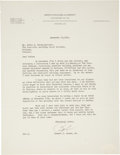 Golf Collectibles:Autographs, 1944 Bobby Jones Signed Typed Letter....