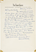 Autographs:Letters, 1945 Connie Mack Signed Handwritten Letter....