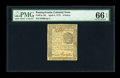 Colonial Notes:Pennsylvania, Pennsylvania April 3, 1772 6d PMG Gem Uncirculated 66 EPQ....