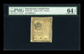 Colonial Notes:Pennsylvania, Pennsylvania April 3, 1772 9d PMG Choice Uncirculated 64 EPQ....