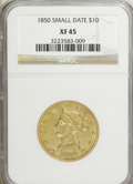 Liberty Eagles: , 1850 $10 Small Date XF45 NGC. NGC Census: (25/67). PCGS Population(20/39). Numismedia Wsl. Price for NGC/PCGS coin in XF4...