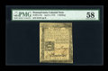 Colonial Notes:Pennsylvania, Pennsylvania April 3, 1772 1s PMG Choice About Unc 58....